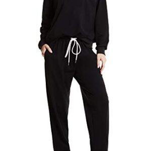 Women Cotton Lounge Set with Pocket Soft Long Sleeve Sweatsuit Set 2 Piece Outifts Pajamas Set