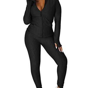 Women's Long Sleeve Top GYM Legging Pants Set 2 Piece Tracksuit Workout Outfits