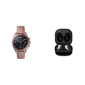 Samsung Galaxy Watch 3 (45mm, GPS, Bluetooth) Smart Watch – Mystic Black with Samsung Galaxy Buds Live, T, Mystic Black