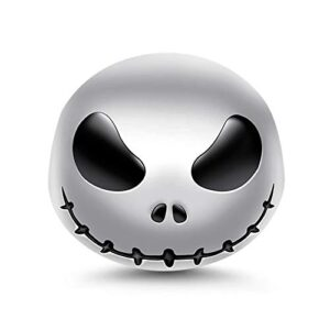 """GNOCE""""Jack Skull 925 Sterling Silver Skull Beads Charms for Bracelets Necklace Birthday Halloween Jewelry for Women Gift"""