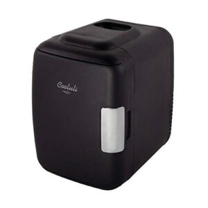 Cooluli Classic Black 4 Liter Compact Cooler Warmer Mini Fridge with AC/DC/USB Power – Great for Bedroom, Office, Car…