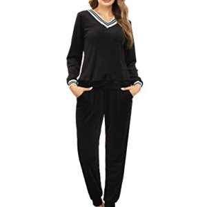 Irevial Women's Striped V Neck Tracksuit Long Sleeve Tops and Pants 2 Piece Sweatsuits Lounge Sets