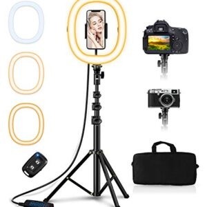 Bcway 10.2″ Ring Light with Stand, Selfie Ring Light with 50″ Tripod Stand and Carrying Bag, Portable Foldable Led Ringlight, 3 Color Modes, Bluetooth Control, for Photography/Makeup/Vlog/Live Stream