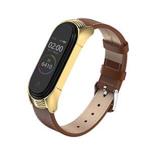 MIJOBS Strap for Xiaomi Mi Band 4, Mi Band 3 Genuine Leather Replacement Strap Watch Wrist Band Smart Bracelet…