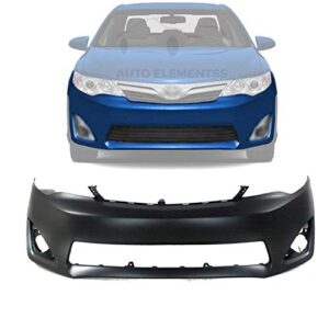New Front Bumper Cover Primed with Fog Light Holes For 2012-2014 Toyota Camry L/LE/XLE/Hybrid Models Direct Replacement…
