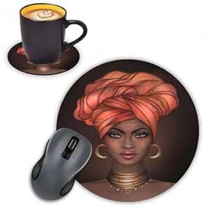 Log Zog Round Mouse Pad with Coasters Set, African American Girl Design Mouse Pad Non-Slip Rubber Mousepad Office…