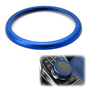 iJDMTOY 1pc Blue Aluminum Ring Compatible With BMW 1 2 3 4 5 6 7 Series X3 X4 X5 X6 Center Console iDrive Multimedia…