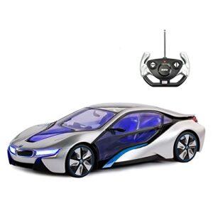 RASTAR BMW Toy Car, 1:14 BMW i8 Remote Control Car   BMW RC Car, Fully Transparent / Interior Light – Silver, 27MHz…