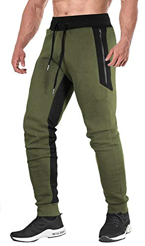 FASKUNOIE Men's Elastic Joggers Open Bottom Running Pants Comfortable Casual Trousers with Zipper Pockets