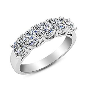 1 Carat (ctw) 14K White Gold Round Diamond Ladies 5 Five Stone Wedding Anniversary Stackable Ring Band Value Collection