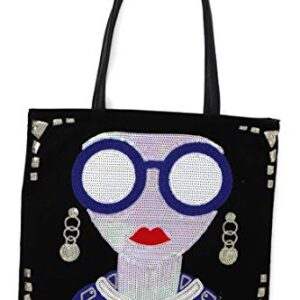 BOUTIQUES Evening Tote Bag Sequin PU Leather with Lovely Lady Face Funky Paillette Shoulder Handbag for women