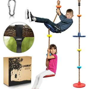 Climbing Rope Tree Swing with Platforms and Disc Swings Seat – Playground Swingset Accessories Outdoor for Kids – Trees…