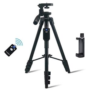 Fugetek 54″ Photo Video Tripod, Bluetooth Remote, Works with Phone & Camera, Lightweight Aluminum, Extendable, 360 Rotation, Compatible with Apple, Android, DSLR, with Carrying Bag, Black