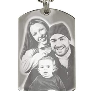 Custom Photo Text Engraving Dog tags Necklace Pendant + Free Photo Text Engraving – Valentine's Day Gift