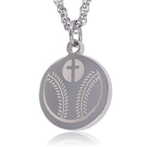 Luke 1:37 Athletes Necklace by Pendant Sports. Crafted in Stainless Steel and Presented in a Black Velvet Box. Baseball…