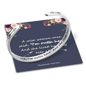 Bracelets for Women Personalized Gifts, Stainless Steel Engraved Funny Quote Inspirational Bracelet Birthday Christmas…