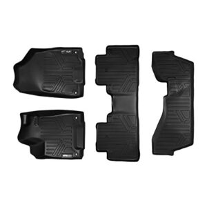 MAXLINER Floor Mats 3 Row Liner Set Black for 2014-2019 Acura MDX with 2nd Row Bench Seat (No Hybrid Models)