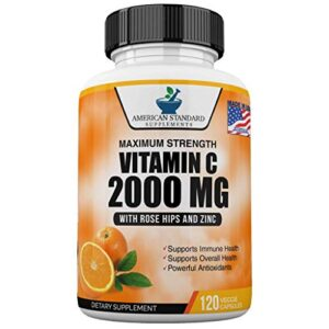 Vitamin C 2000mg with Zinc 40mg Per Serving and Rose Hips Extract, Immune Support for Adults, Immune Booster, Vegan Non…
