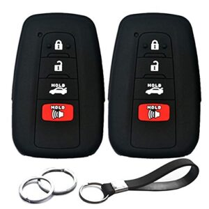 2pcs Compatible with Toyota Camry Smart HYQ14FBC 4 Buttons Black Rubber Silicone Case Remote Key Fob Cover for 2019 2018…
