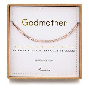 RareLove Godmother Morse Code Bracelets Birthday Christmas Christen Gift For Women Rose Golden Beads String Bracelet