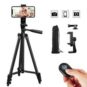 Phone Tripod,53″ Adjustable Cell Phone Tripod,Lightweight Tripod 360° Rotation with Wireless Remote Control Mount,Portable Bag,Sport Camera Adapter,for iPhone Ipad Smartphone Camera Projector