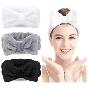 Spa Headband – 3 Pack Bow Hair Band Women Facial Makeup Head Band Soft Coral Fleece Head Wraps For Shower Washing Face…