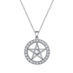 YFN Pentagram Pentacle Necklace Sterling Silver Pentagram Pentacle Pendant Necklace Celtic Star Moon Wiccan Jewelry…