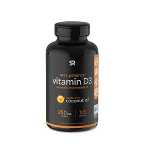 Max Potency Vitamin D3 10,000iu (250mcg ) with Coconut Oil ~ High Potency Vitamin D for Immune & Bone Support ~ Non-GMO…
