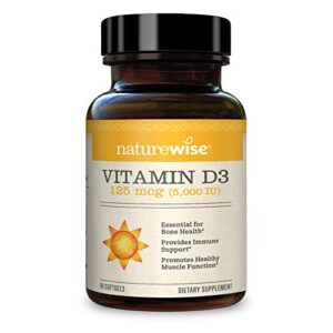 NatureWise Vitamin D3 5000iu (125 mcg) 1 Month Supply for Healthy Muscle Function, Bone Health and Immune Support, Non…