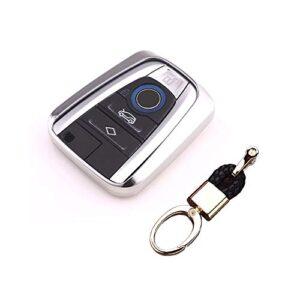 ROYALFOX(TM Luxury Soft TPU Smart 4 Buttons Key Fob case Cover for BMW i3 i8 2014 2016 2017 with Keychain Key Ring BMW i…