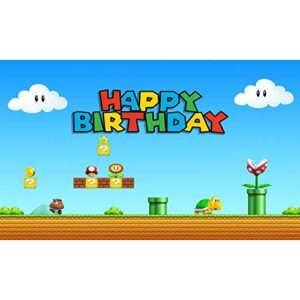 Allenjoy 5x3ft Birthday Video Game Backdrop Super Brother Adventure Photography Background Cartoon Mushroom Gold Coin…