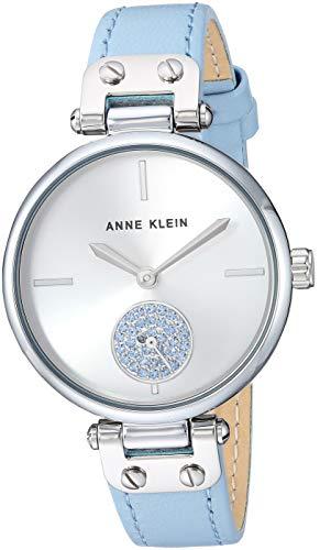 Anne Klein Women's Premium Crystal Accented Leather Strap Watch