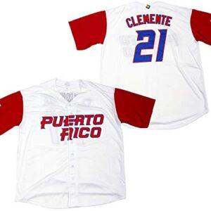 Clemente #21 Puerto Rico World Classic Baseball Jersey Men
