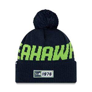 New Era 2019 NFL Seattle Seahawks Cuff Knit Hat Road OTC Beanie Stocking Cap Pom Blue