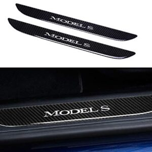 TopDall Car Door Sill Protection Cover Anti-Scratch Real Carbon Fiber Stickers with Polyurethane Compatible for Tesla…