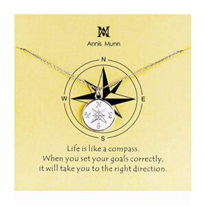 Graduation Compass Pendant Necklace – 925 Sterling Sliver direction necklace, Christmas Graduation Jewelry Birthday Gift…