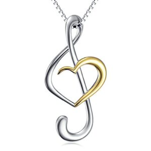 (Musical Note Necklace Pendant) 925 Sterling Silver Jewelry for Women Girls, 18 Inch