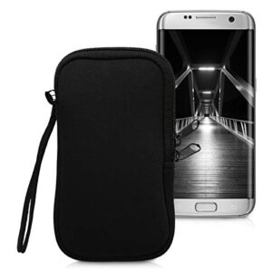 kwmobile Neoprene Phone Pouch Size S – 4.5″ – Universal Cell Sleeve Mobile Bag with Zipper, Wrist Strap – Black