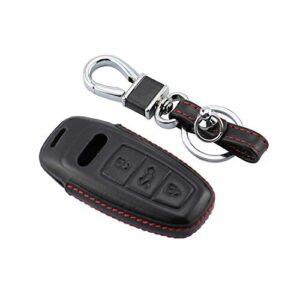 M.JVisun Leather Key Case For Men Women Genuine Leather Key Fob Cover For Audi A3 A6 A7 A8 A8L E-Tron Q7 Q8 RS6 RS7 S3…
