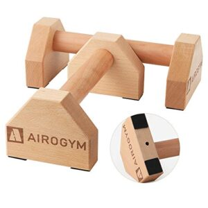 airogym Push-up Stand, 2 PCS Wood Pushup Bars Non-Slip Base Exercise Home Workout Equipment, 30CM Wooden Parallettes…