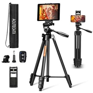 ACUTECATX 54-Inch Phone Tripod for iPhone iPad Android Cell Phone Camera Tripod Stand Mount with Wireless Remote…