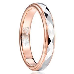 TUNGSTORY 4mm Women's Tungsten Wedding Ring Faceted Finish Rose Gold Plated Comfort Fit Size 5-10