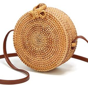 Obosoyo Women's Handmade Bamboo Handbag Summer Beach Sea Tote Bag