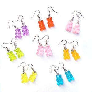 8 Pairs Bear Earring Set Cute Colorful Resin Candy Cartoon Drop Earring Party Favors Birthday Gifts for Girls Women