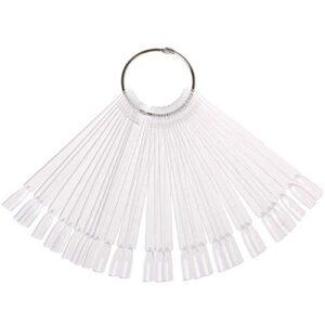 JASSINS 50 Pcs Clear Fan-shaped False Nail Swatch Sticks Nail Polish Practice Display Art Tips Nail Sample Sticks With…
