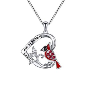 925 Sterling Silver Engrave Always in My Heart Angel Red Bird Cardinal Pendant Necklace and Ring Sympathy Gift for Women…