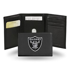Rico Industries Oakland Raiders Embroidered Leather Tri-Fold Wallet