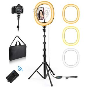 X99 Selfie Ring Light with Stand and Phone Holder, Portable and Detachable LED Ring Light, 3 Color Modes, Bluetooth…