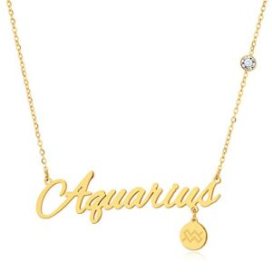 FAMARINE 18K Gold Plated Zodiac Necklac, Constellation Pendant Necklace for Women Gifts
