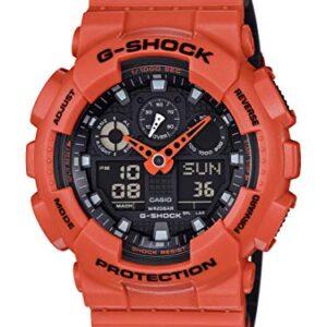 Casio Men's G-Shock XL Series Quartz Sport Watch Resistant Strap, Orange/Black, 29.4 (Model: GA100L-4A)